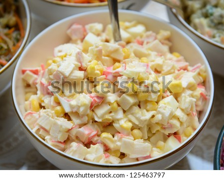 surimi crab sticks with lettuce crab sticks on a platter