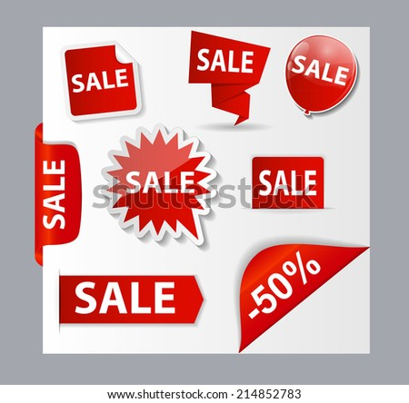 Sale Banner Set with Place for Your Text.  Illustration