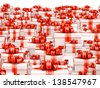 Sale concept - many gift boxes on white background - stock photo