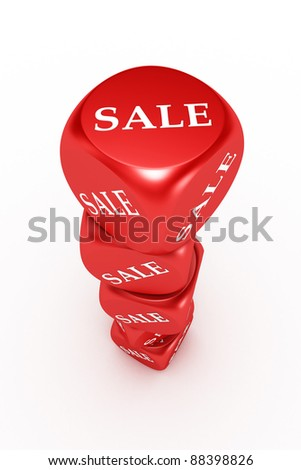 sale red box on white background