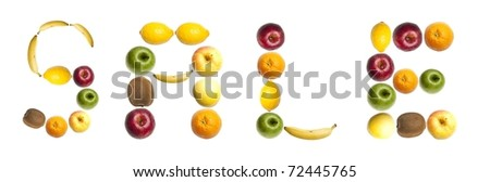 Sale word made of different of fruits