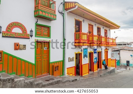 SALENTO, COLOMBIA - SEPTEMBER 7, 2015: Colorful decorated houses in Salento village, Colombia