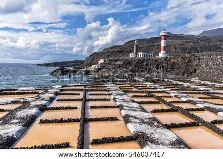 Salinas of Fuencaliente in La Palma with lighthouse in the background