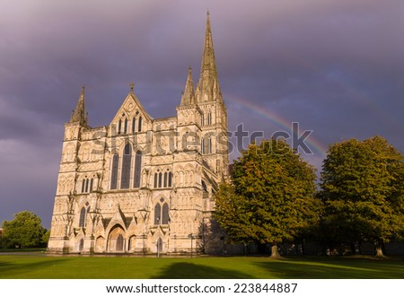 Salisbury Cathedral England Sunset and Rainbows