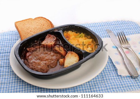 Salisbury steak and potatoes TV dinner in plastic dish on white plate against blue gingham place mat.