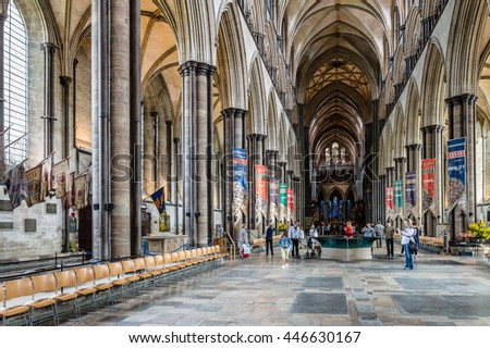 Salisbury, UK - August 16, 2015: Interior view of Salisbury Cathedral. Dedicated to the Blessed Virgin Mary, is an Anglican cathedral and one of the leading examples of Early English architecture.
