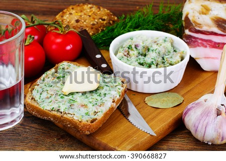 Salo, Pork with Garlic, Dill and Multi Grain Bread Studio Photo