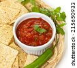 Salsa with Chips. Selective focus. - stock photo