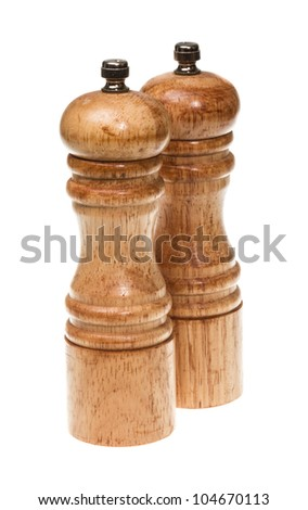 Salt and pepper shakers isolated on the white background