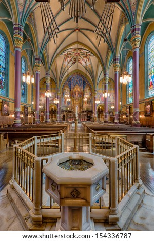 SALT LAKE CITY, UTAH - AUGUST 16: Baptismal pool inside the Cathedral of the Madeleine Roman Catholic Church on August 16, 2013 in Salt Lake City, Utah