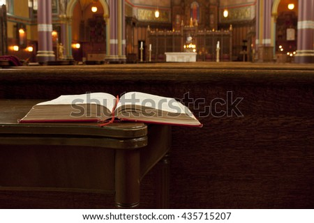 Salt Lake City, Utah, USA - 12 October 2005: Open bible sitting on a table inside the Cathedral of the Madeline in Salt Lake City.