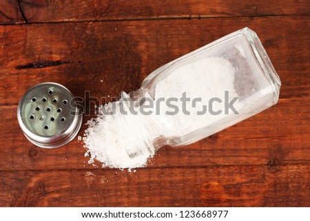 Salt sprinkled on table