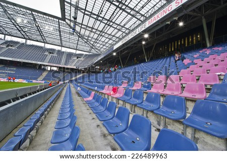SALZBURG,AUSTRIA-CIRCA SEPTEMBER 2014: Red Bull Arena -the official playground of FC Red Bulls Salzburg