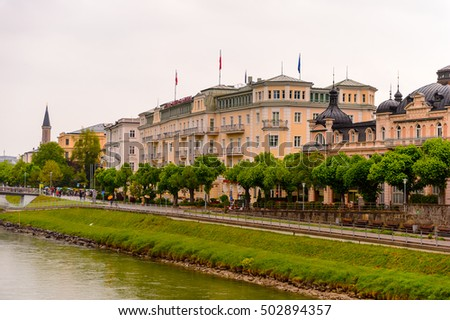SALZBURG, AUSTRIA - MAY 1, 2016: Beautiful architecture of Salzburg, Austria. It is  the fourth-largest city in Austria