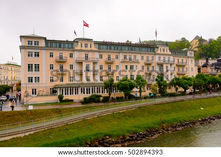 SALZBURG, AUSTRIA - MAY 1, 2016: Houses on the bank of the river of Salzburg, Austria. It is  the fourth-largest city in Austria