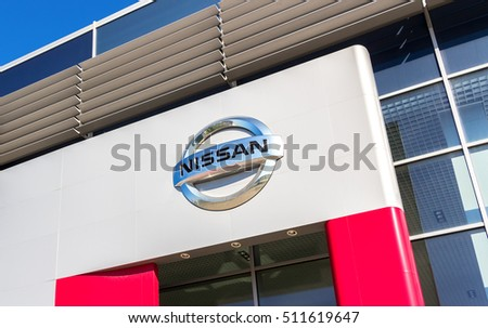 SAMARA, RUSSIA - MAY 24, 2016: Official dealership sign of Nissan. Nissan is a Japanese multinational automaker