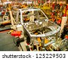 SAMUTPRAKARN, THAILAND - AUGUST 10 Cab of car in welding assembly line on August 10, 2012 in Samutprakarn, Thailand. Thailand have many automotive company which produce vehicle in South East Asia. - stock photo