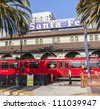 SAN DIEGO, USA - JUNE 11: train arrives at Union Station on June 11, 2012 in San Diego, USA. The Spanish Colonial Revival style station opened on March 8, 1915 as Santa Fe Depot. - stock photo