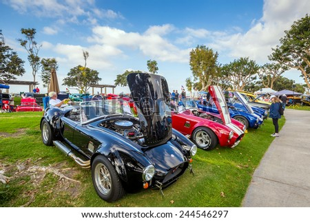 SAN DIEGO, USA - SEPTEMBER 28, 2014: Outdoor Exhibition of  retro cars at Embarcadero Marina Park North, San Diego on September 28, 2014