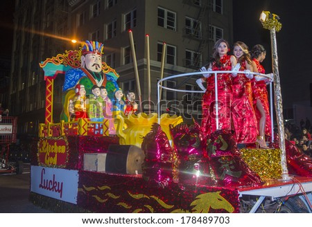 SAN FRANCISCO - FEB 15 : A parade float at the Chinese New Year Parade in San Francisco , California on February 15 2014 , It is the largest Asian event in North America