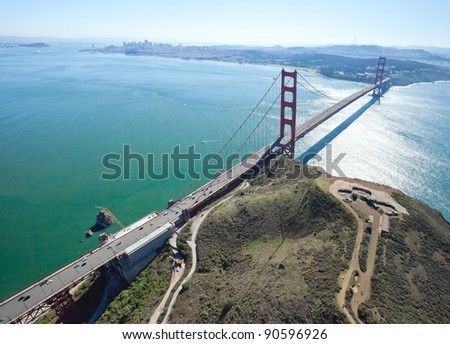 San Francisco Golden Gate Bridge and Battery Spencer aerial view
