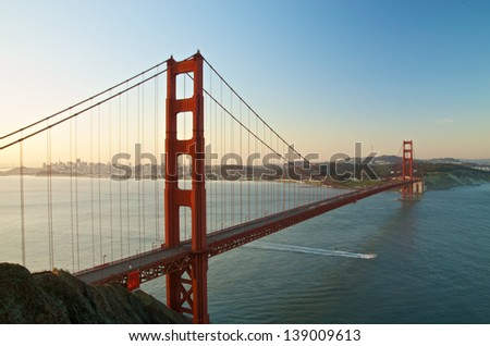 San Francisco's Famous Golden Gate Bridge at Dawn