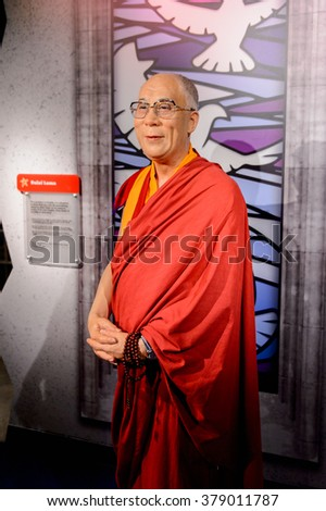 SAN FRANCISCO, USA - OCT 5, 2015: Dalai Lama at the Madame Tussauds museum in SF. It was open on June 26, 2014