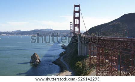 SAN FRANCISCO, USA - OCTOBER 4th, 2014: Golden Gate Bridge with SF city in the background, seen from Marin Headlands.