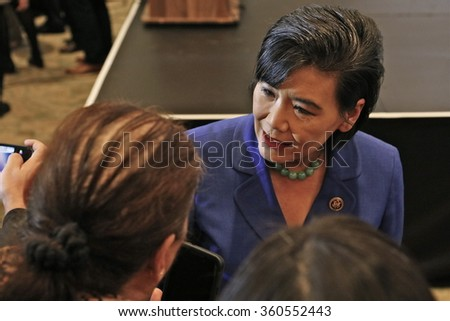 SAN GABRIEL, LA, CA - JANUARY 7, 2016, Congresswoman Judy Chu shakes hands with Democratic Presidential candidate Hillary Clinton at the Asian American and Pacific Islander (AAPI) members.