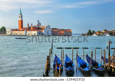 San Giorgio Maggiore island across from San Marco square in Venice, Italy. Venice is situated across a group of 117 small islands that are separated by canals and linked by bridges.