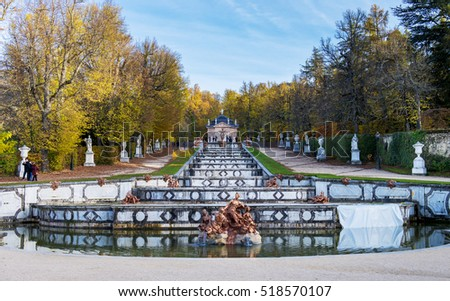 SAN ILDEFONSO - NOV 19 : Unidentified people walking in Gardens of the Granja, on November 19, 206 in San Ildefonso village, Segovia province, Castile and Leon community, Spain.