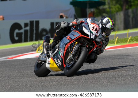 San Marino, Italy - May 8, 2015: Aprilia RSV4 RF of Aprilia Racing Team - Red Devils, driven by Leon Haslam in action during the Superbike Practice on May 8, 2015 in Imola Circuit, Italy
