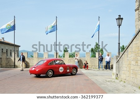 SAN MARINO, RSM - MAY 15: A red FIAT Zagato 1100 E Berlinetta takes part to the 1000 Miglia classic car race on May 15, 2015 in San Marino. The car was built in 1950.