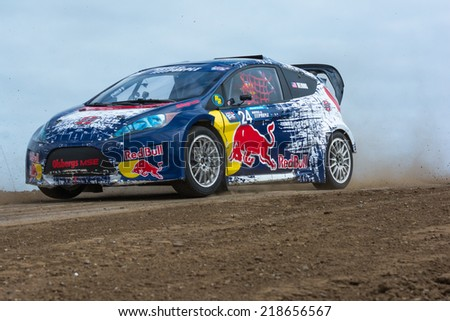 SAN PEDRO, CA - SEP 20: Mitchell Dejong rally driver at the Red Bull GRC Global Ralleycross inSan Pedro, CA on September 20, 2014