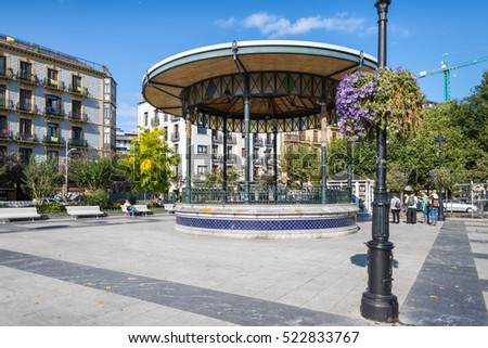 SAN SEBASTIAN, SPAIN  - OCTOBER 02. Bandstand at the public square Plaza Easo The picturesque pavilion, Spanish, Kiosko de la Plaza de Easo, is in inner city Donostia San Sebastian on October 02, 2016
