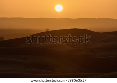Sand dunes at sunset, Sahara Desert, Hassilabied, Morocco