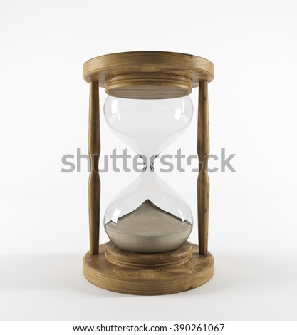 Sand glass in wooden carcass. All sand down. White background. Concept of time. 3D rendering