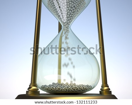 Sand glass with soccer balls - time runs out