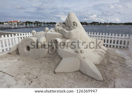 Sand sculpture at Sea Sun's Greeting in West Palm Beach, Florida.