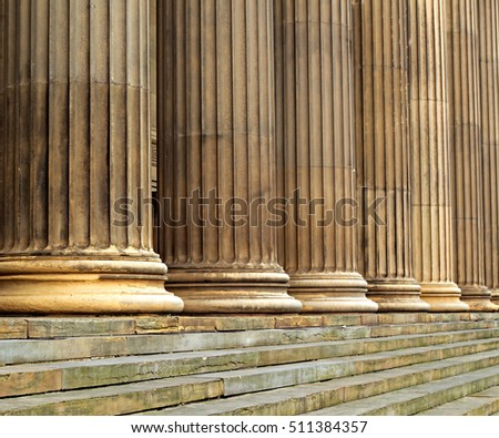 Sandstone columns on St Georges Hall Liverpool UK