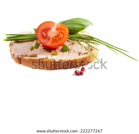 Set delicious canapes isolated on white stock photo for Canape sandwich