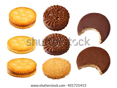 Sandwich biscuits, filled with chocolate, pineapple, cheese cream, isolated on white background