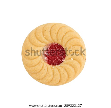 Sandwich biscuits with strawberry on white background