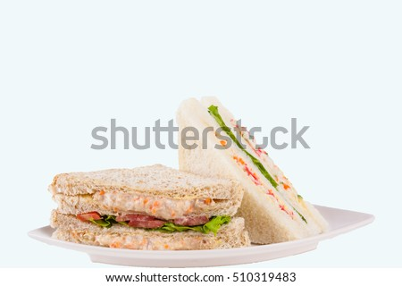 Sandwich in dish on white  background.(Isolate)