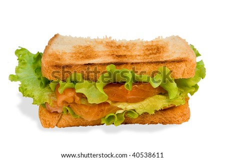 Sandwich with a salmon and  lettuce on a white background.