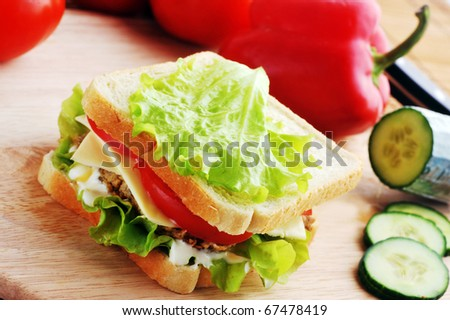 sandwich with  cutlet and vegetables lies on  plate