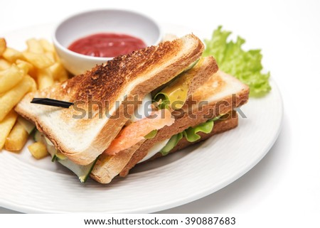 sandwich with fries and sause on white background