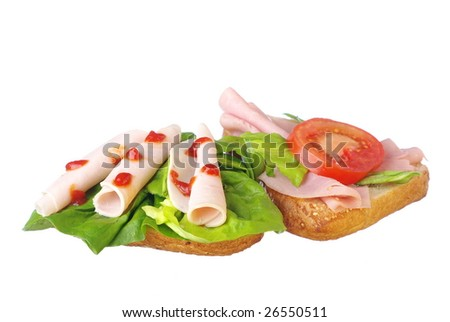 Sandwich with salad and ham