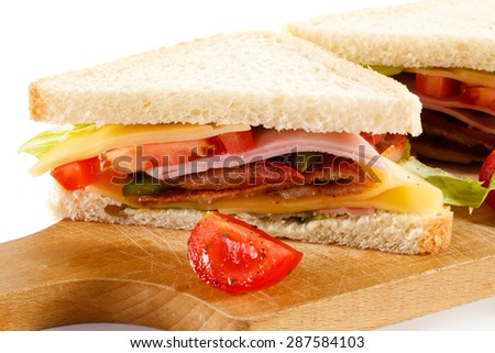 Sandwiches on white background