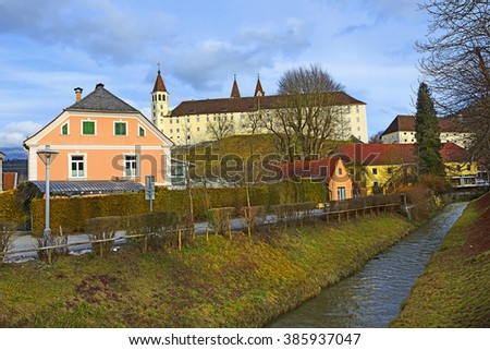 SANKT PAUL IN LAVANTTAL, AUSTRIA - FEBRUARY 20, 2016: Town houses and Saint Paul's Abbey in Lavanttal. A Benedictine monastery established in 1091 in the Austrian state of Carinthia.